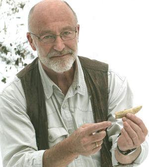 Hugo Schmid with one of the crocodiles teeth.