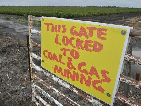 An anti-mining sign at a property gate near Cecil Plains.