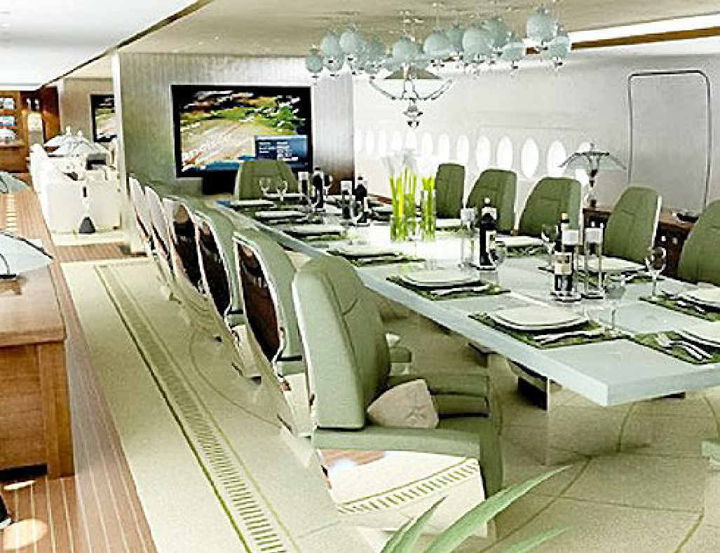 Princely dining on world's first private A380.