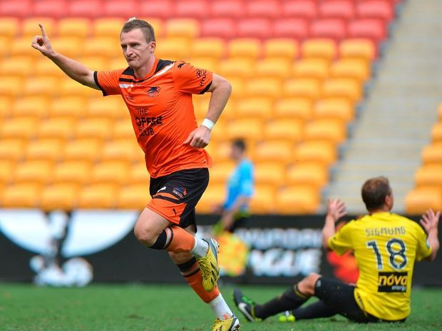 Besart Berisha of the Roar celebrates after scoring a goal during the round 21 A-League match between the Brisbane Roar and the Wellington Phoenix at Suncorp Stadium on February 17, 2013 in Brisbane, Australia.