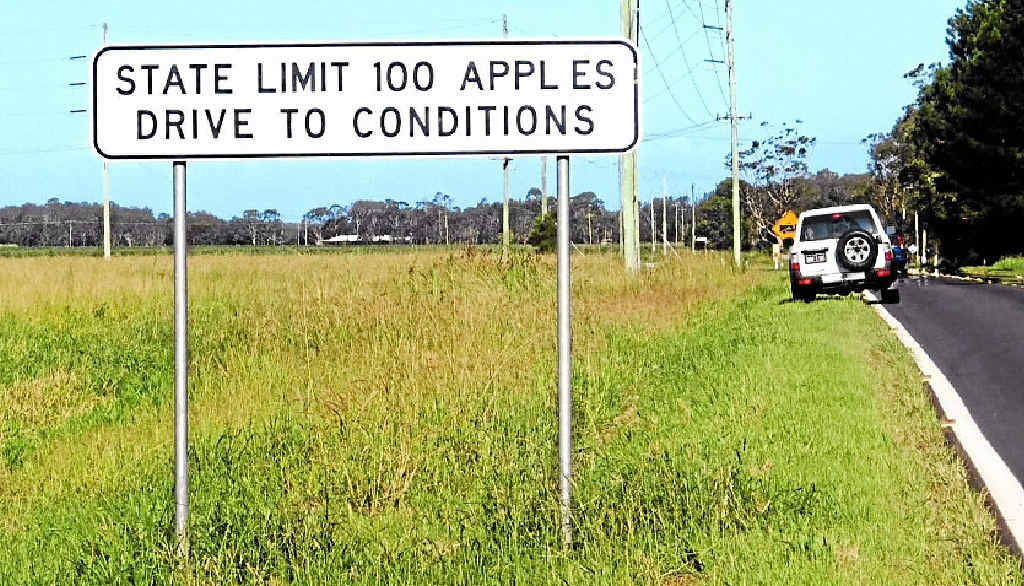 NEW SPEED MEASURE? Val Haynes took this photo of a road sign on Ross Lane, near Lennox Head.