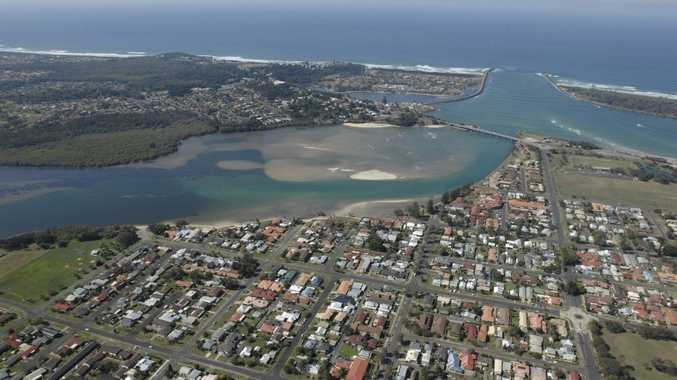 Aerial of Ballina bar and surrounds.