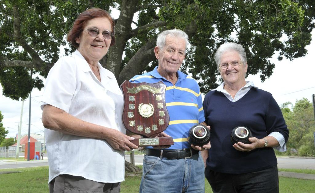 Molly Green and Bob and Jan Christison are inviting people to the Jack Brown - Des Green Memorial Lawn Bowls Day at Swifts Sports VClub on February 24. Photo: Rob Williams / The Queensland Times