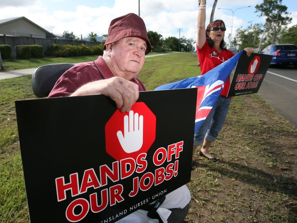 Aged care resident Vic Hall and nurse Sharon McGilvray protesting the possible privatisation of the North Rockhampton Nursing Centre. Photo: Chris Ison / The Morning Bulletin