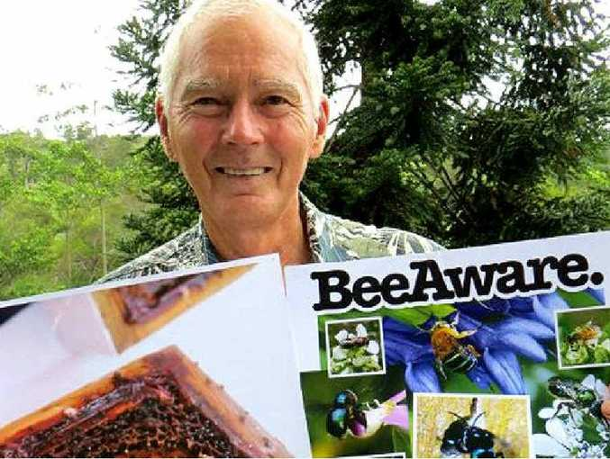 Athol Craig with some of the information regarding bees.