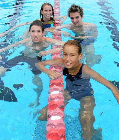 Lismore Workers Swimming Club members (clockwise from back), Sinead Gorman, 13, Aaron Dobbs, 15, Holli Hunter, 11, and Ryan Everson, 14, are looking forward to competing in the Country NSW Championships.