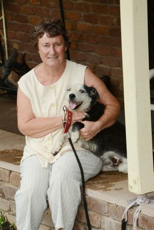 Leigh O'Connor pictured with Max the dog who alerted the family to the plight of the horse.