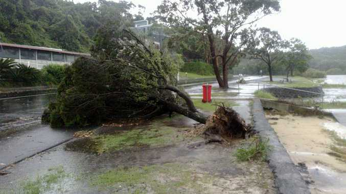Shaws Bay during last month's storm at Ballina.