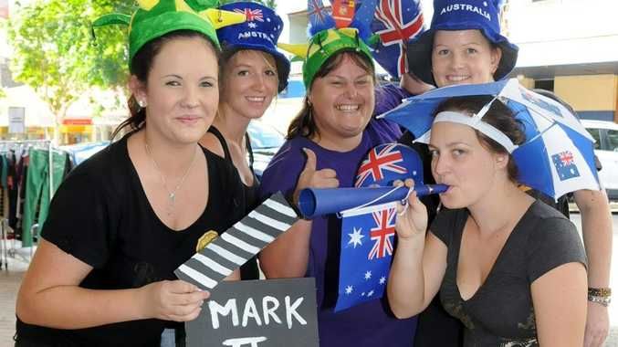 Crazy Clarks' staff get set for Australia Day II (back) Jemma Johnston, Bec Jones and Justine Herman, and (front) Tori Stolzenberg and Kirsty Mobbs.