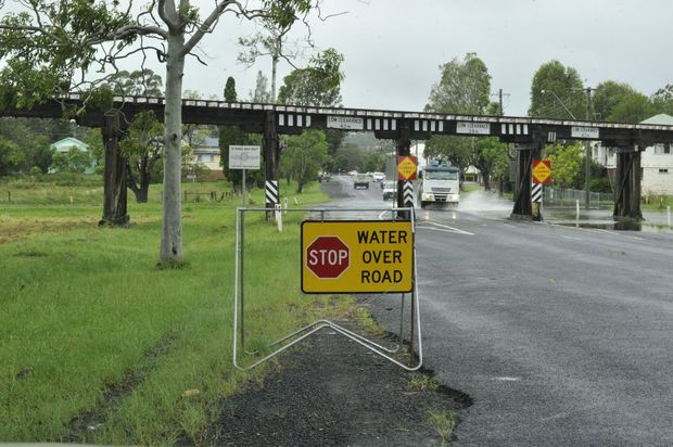 Water encroaching on Terania Street in North Lismore.