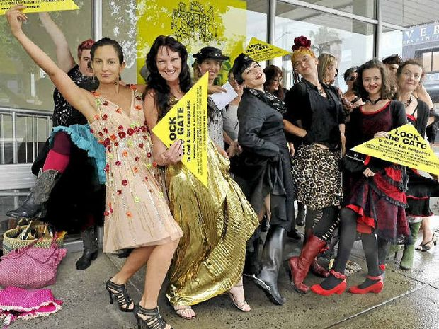 FROCKS AGAINST FRACKING: Women from the Northern Rivers gathered outside the office of Member for Lismore Thomas George to oppose coal seam gas drilling.