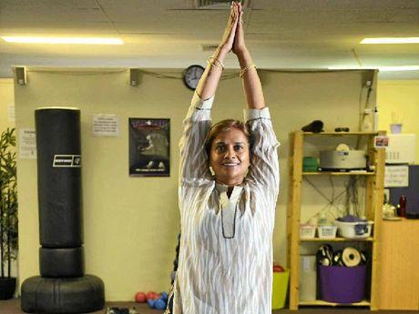 Yoga guru Pushpa Bakshi does the Natrajasan pose.