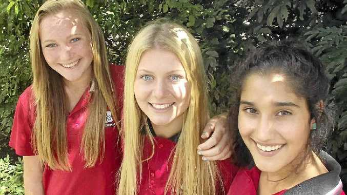 COMMUNICATION SKILLS: Hoping to make an impression in forthcoming volleyball action are Richmond River High School students, from left, Georgie Morris, Maddie Fiedler and Emma Sidhu.