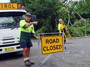 Lane closed on collapsed bridge