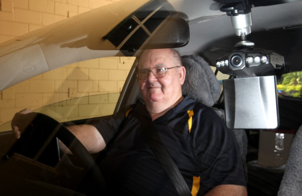 John Wallis installed cameras in his car and has posted videos on Youtube of bad drivers. Photo Allan Reinikka / The Morning Bulletin