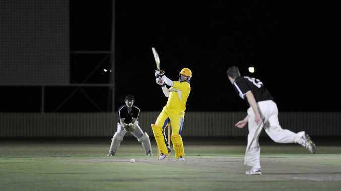 Diggers batsman Mick Miller plays a shot in Friday night's Twenty20 grand final against Souths.