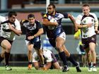 Reginald Saunders takes runs the ball down field in the Capras v Broncos pre season game at Browne Park on Saturday night. Photo: Chris Ison / The Morning Bulletin