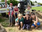 Some of the Ulmarra kids who volunteered there time over the weekend to sand bag for their community (back row) Shaun Marsh, Luka Primora, Brodie Henderson, (front row) Darcy Henderson, Noah Smith and Jamie Moore Scibberras on Sunday. Photo Debrah Novak / The Daily Examiner