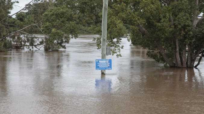 Richmond river overflowing in Coraki.