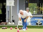 CHAMPION EFFORT: Eventual winner Terry Knudson delivers a bowl towards the kitty during the A-grade District Pairs final at South Lismore Bowling Club.