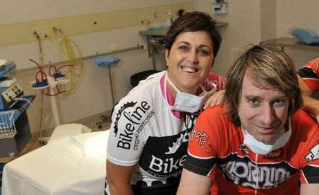 Suzanne Waldron and Miles Brodie from St Vincent's Hospital prepare to Ride the Range.