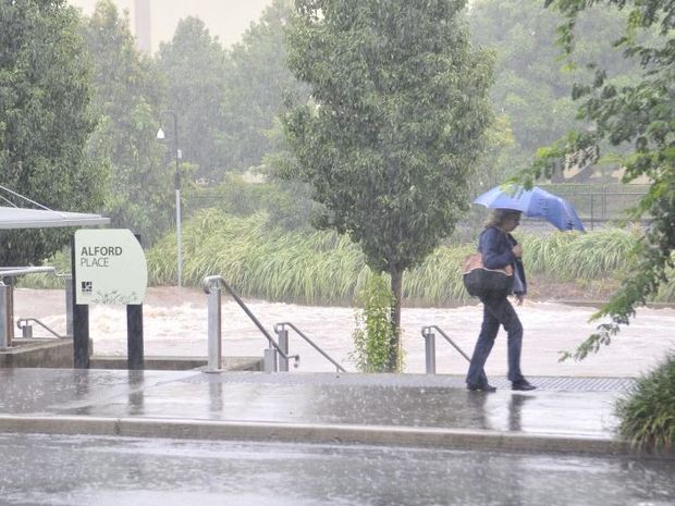 West Creek near the library. Toowoomba hit again by torrential rain. Photo Dave Noonan / The Chronicle