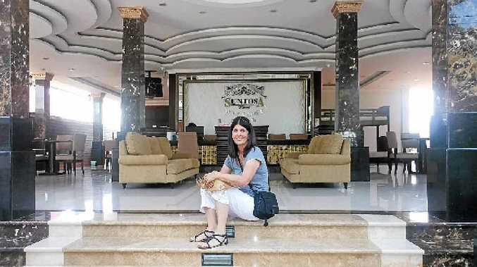 Not Italy, Thailand. Rowena Robertson on the steps of Suntosa resort, Koh Larn.