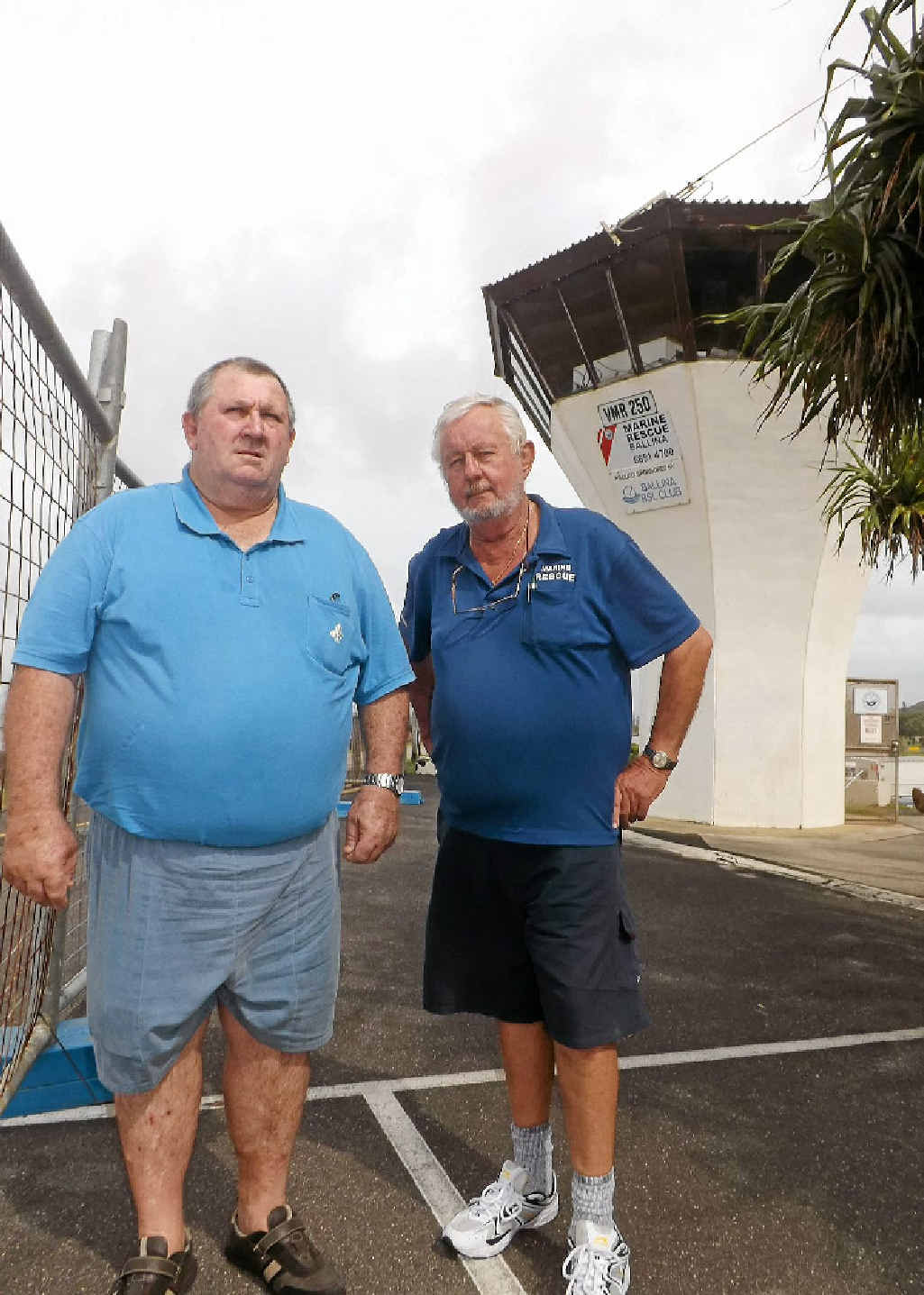 STORM FRIGHT: Marine Rescue Ballina volunteer John Donoghue and commander Norm Lannoy at the organisation's tower at North Wall.