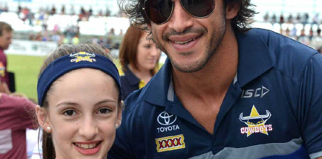 Amy Saward was one of many fans vying to meet Johnathan Thurston, who was sidelined due to injury.