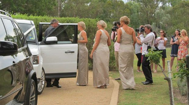 PERFECT LOCATION: The rural setting of North Toolburra, Warwick, was chosen by Laura Geitz and Mark Gilbride for their wedding reception. Laura arrives at North Toolburra.