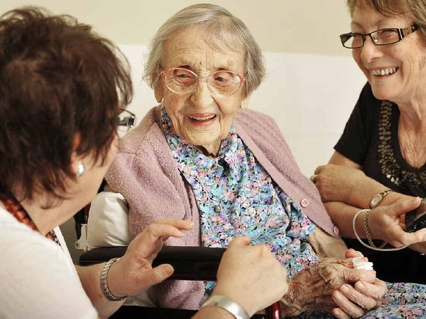 GREAT SURPRISE: Eva Schmidt celebrated her 104th birthday with family and friends at Brassall Village.