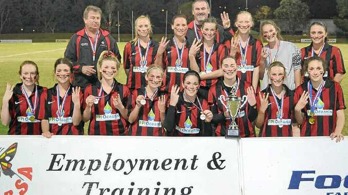 CHALLENGE: The Alstonville women's side celebrates its third consecutive premier division title last year. But the team faces a tough battle this year.