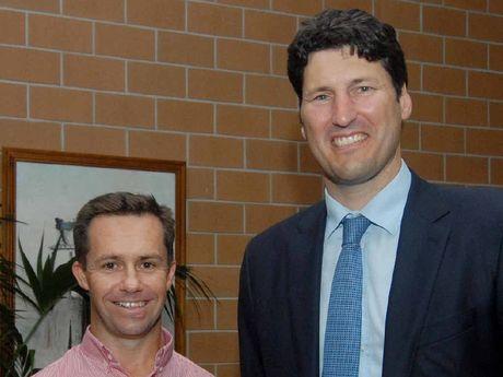 Mackay Region Chamber of Commerce chairman Tim Miles and speaker John Eales.
