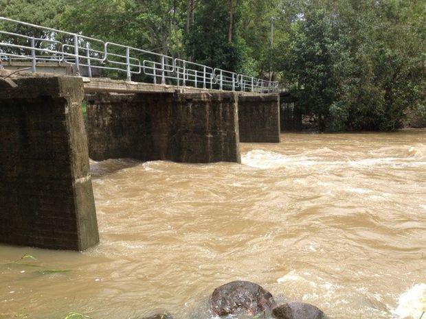 Water under walk bridge at Yandina