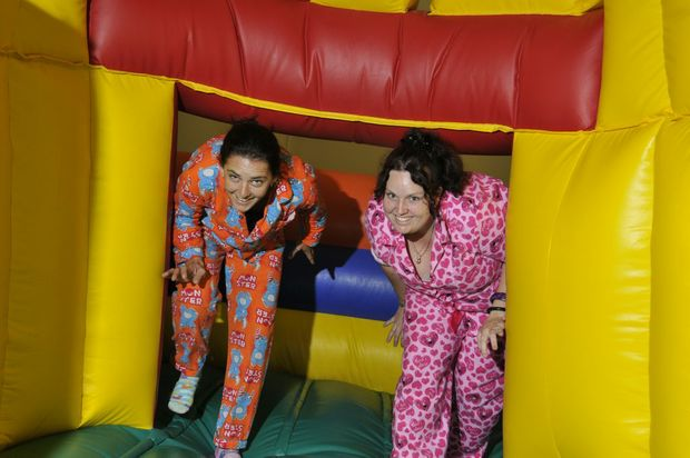 Keeping their spirits high are Amanda Thompson and Teela Stinton of iPlay cafe and play centre.