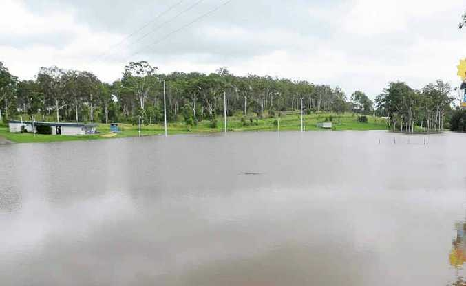 The Six Mile Oval, home of the Gympie Cats AFL Club, is a spectacular sight during flood. The club has hit this week's flood head on with a finetuned flood plan.