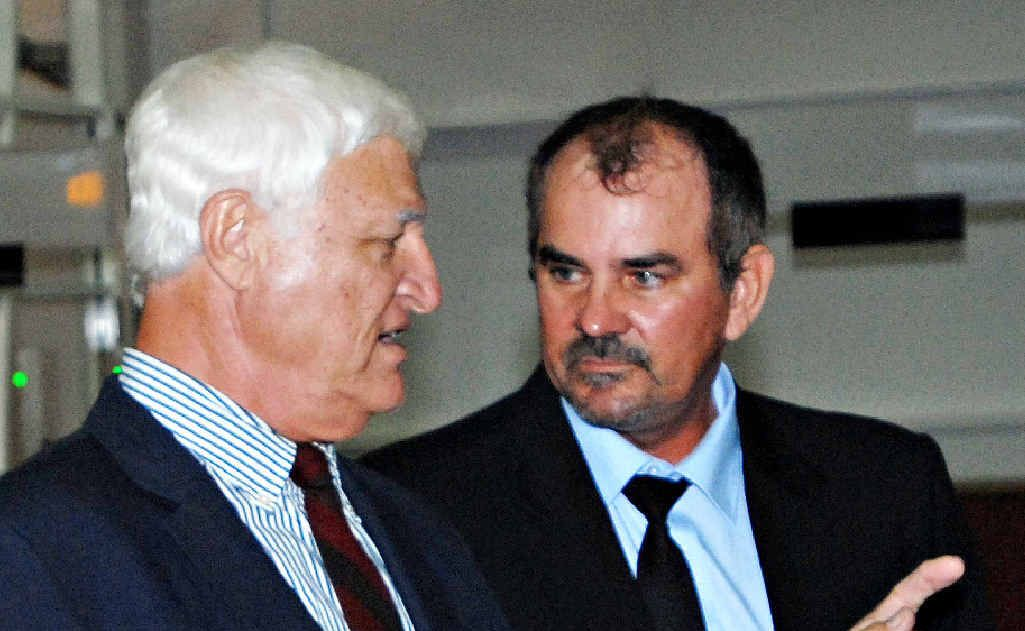 "Former Dawson KAP chairman Lindsay Temple with Rob Katter in Mackay last year. Mr Temple has resigned for ""personal reasons""."