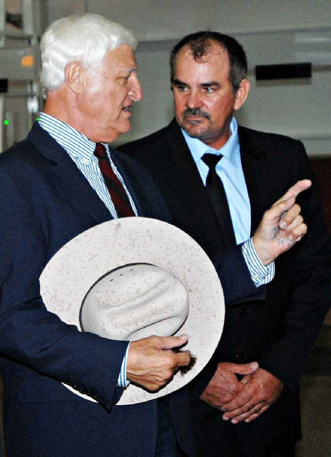 """Former Dawson KAP chairman Lindsay Temple with Rob Katter in Mackay last year. Mr Temple has resigned for """"personal reasons""""."""