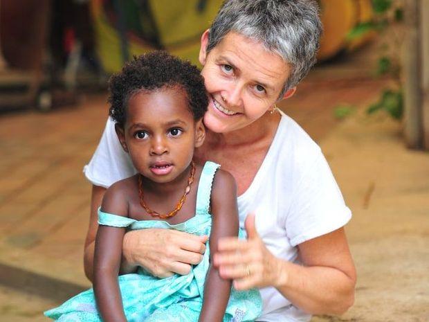 Julie Carrington at home at Pomona with daughter Aya.