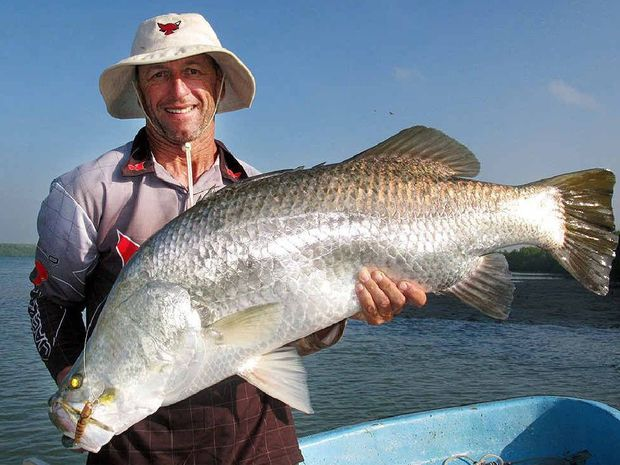 NICE CATCH: Harry Watson from Jackall Lures with a barramundi at Weipa.