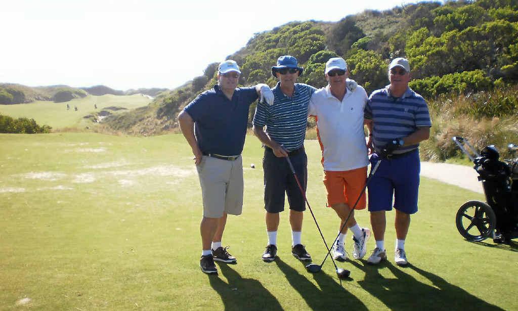 Gavin Wesche, Peter Ayre, Danny Beerhalter and Alan Binks went on a golf trip to Tasmania.