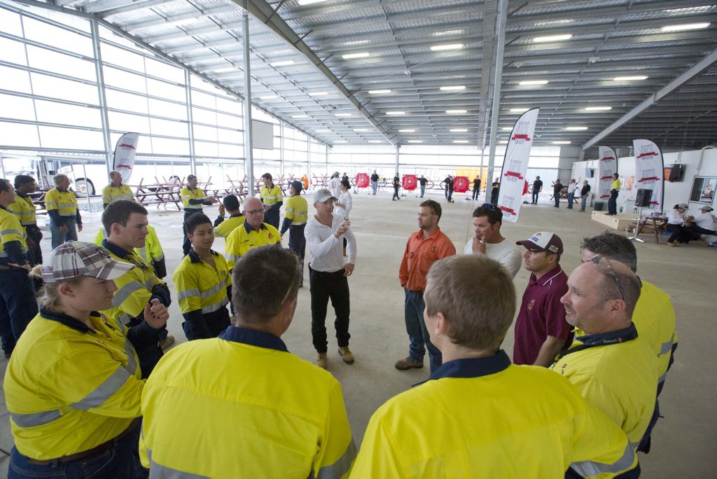 Former rugby great Darren Lockyer visits workers at the Australia Pacific LNG project on Curtis Island to deliver safety messages.