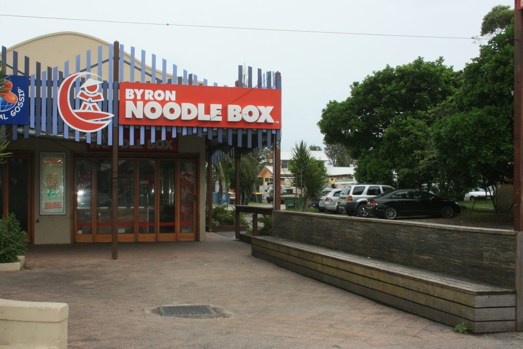 THE Noodle Box, outside which three men were attacked at 3am this morning. Photo Digby Hildreth / Byron Shire News