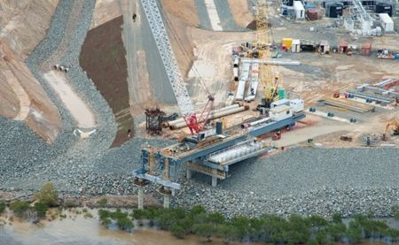 Construction on Santos' GLNG project on Curtis Island is now more than 50% complete.