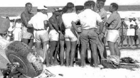 CRASH SCENE: The Wirraway plane on Maroochydore Beach on December 30, 1950.