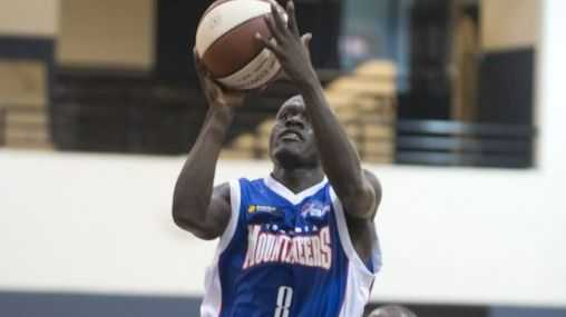 Mountaineers guard Adoc Makwai leaps for the basket in Saturday's pre-season clash against the PSM All Stars from Seattle.