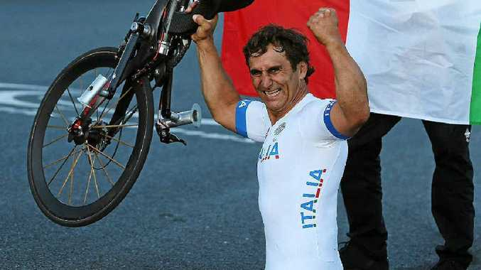 NEED FOR SPEED: Alessandro Zanardi competes in the mixed H 1-4 relay at the London Paralympics. Gareth Copley/GETTY IMAGES