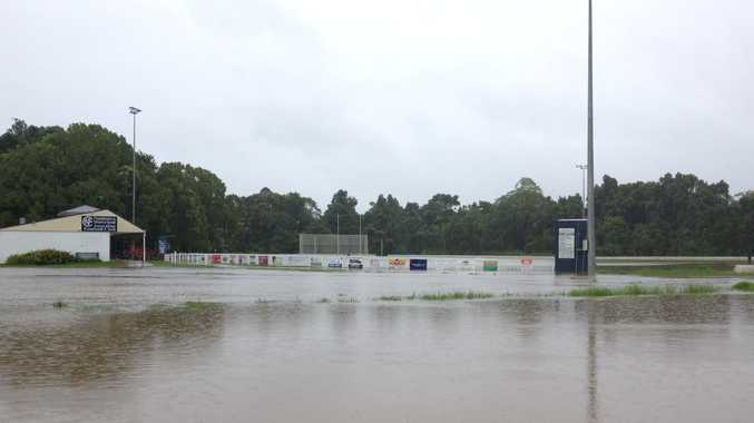 The Aussie Rules grounds at Palmwoods flooded on the morning of Sunday March 3.