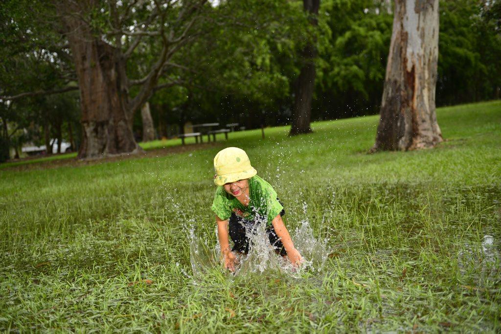 Wet weather this past weekend in Gladstone. Kaedyn Tehuia, 3.