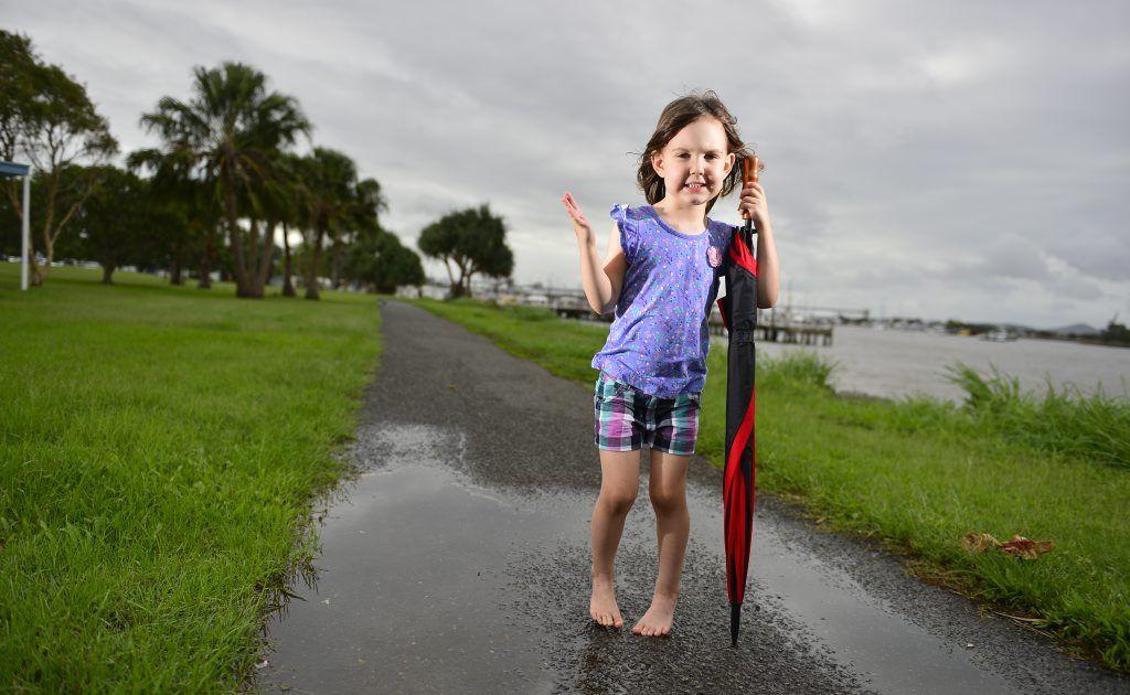 Wet weather this past weekend in Gladstone. Gabbi Noonan, 4.